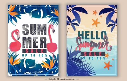 summer sale banners colorful classical forest marine themes