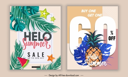 summer sale banners colorful leaves fruits decor