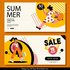 summer sale banners dynamic shoppers sketch cartoon design
