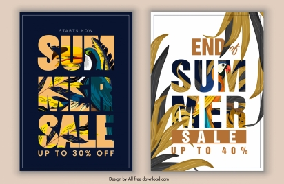 summer sale banners modern texts parrot leaves decor