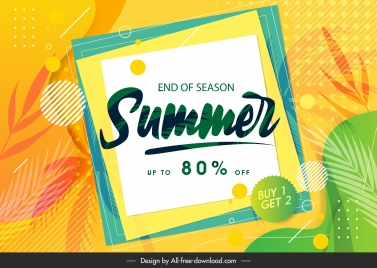 summer sale poster colorful bright blurred leaves frames