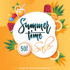 summer sale poster colorful flat fruits cocktail sketch