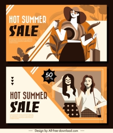 summer sale posters classic decor female fashion sketch