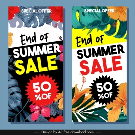 summer sales flyers colorful hibiscus floral classical design