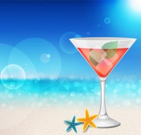 summer sea background cocktail glass sunlight ornament