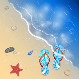 summer sea background slippers starfish shell ornament