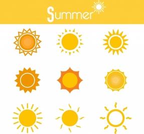 summer sun icons various yellow circles isolation