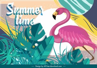 summer time background flamingo leaves decor classical design