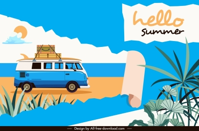 summer time banner beach vacation elements sketch