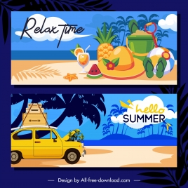 summer time banner templates colorful classic sea elements