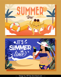 summer time banners beach elements sketch colorful classic