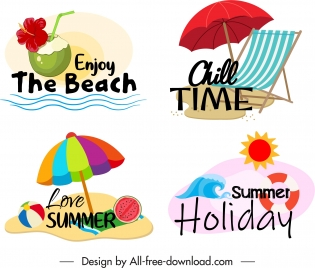 summer time logotypes colorful beach elements sketch