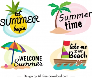 summer time logotypes colorful classic tropical emblems