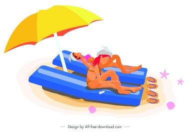 summer time painting sunbathing ladies sketch colored cartoon