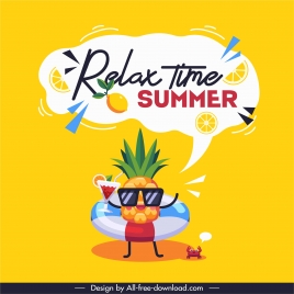 summer time poster funny stylized pineapple sketch