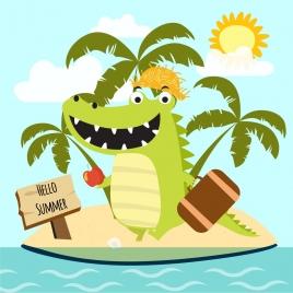 summer tour banner green crocodile icon stylized cartoon