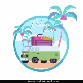 summer travel background bus luggage coconut trees sketch