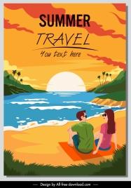 summer travel banner sunset seaside couple sketch