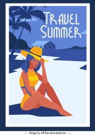 summer travel poster bikini girl seaside sketch
