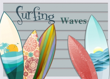 summer trip background colorful decorated surfboard icons