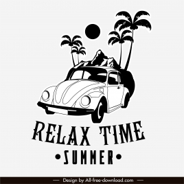 summer trip banner black white classic car sketch