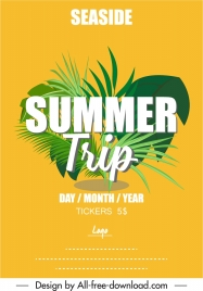 summer trip banner green leaves decor bright design