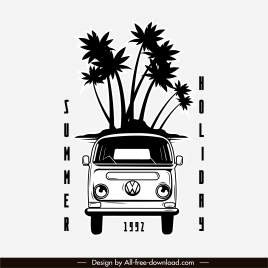 summer trip poster black white retro bus sketch