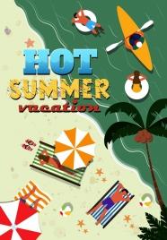 summer vacation advertisement seaside icon colored cartoon