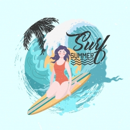 summer vacation advertising bikini woman surfing decor
