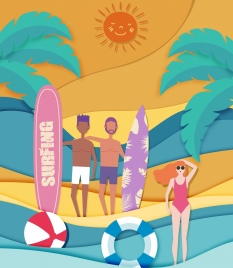 summer vacation background people surfboard beach icons