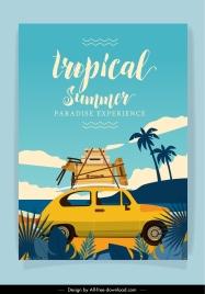 summer vacation banner retro car luggage sketch