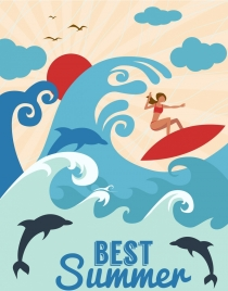 summer vacation banner surfer wave dolphin decor