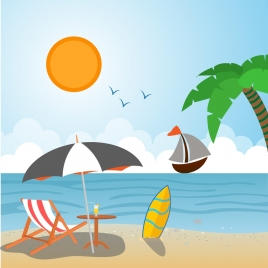 summer vacation drawing beach scenery sketch colorful design