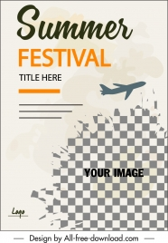 summer vacation flyer airplane icon classic checkered decor