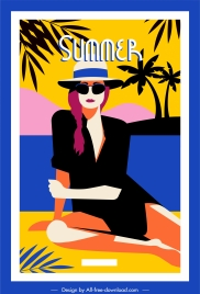 summer vacation poster lady sketch colorful cartoon