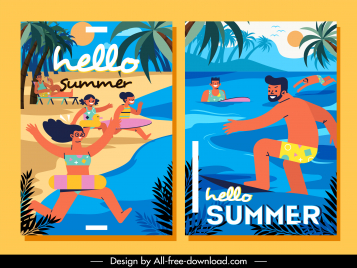 summer vacation posters beach activities sketch flat colorful