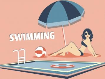 summertime background bikini woman swimming pool cartoon design