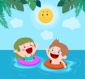 summertime background joyful kids beach stylized sun icons