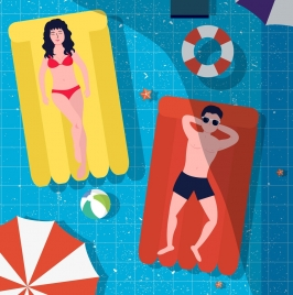 summertime background relaxed people swimming pool colored cartoon