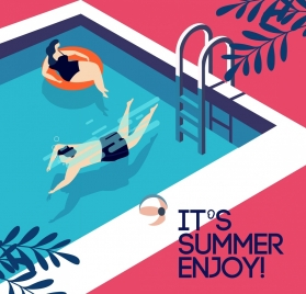 summertime banner swimming pool human icons colored cartoon