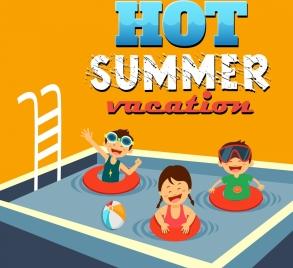 summertime banner swimming pool joyful kids icons
