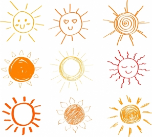 sun icons collection colored handdrawn style