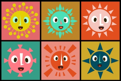 sun icons collection stylized cartoon style