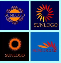 sun logo collection various flat isolation