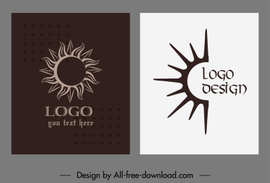 sun logo templates dark flat handdrawn sketch