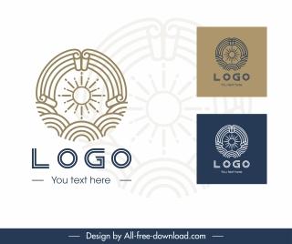 sun logotype classical flat seamless circle sketch