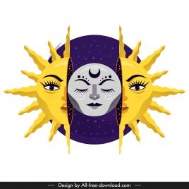 sun moon icon stylized design emotional faces decor