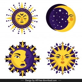 sun moon icons stylized facial sketch