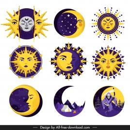 sun moon icons stylized legendary sketch