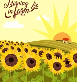 sunflowers farm drawing hill sun icons multicolored decoration